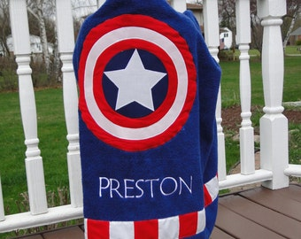 Captain America Hooded Towel for  Beach or Bath - Made to Order