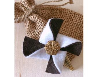 Brown/White Felt Pinwheel Hair Clip