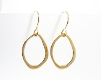 Gold Oval Earring - Modern Minimalist Abstract Organic Bronze Dangle Simple Modern Everyday Jewelry