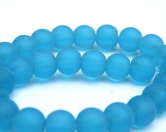 "8 mm Aqua Blue Frosted ""Beach"" Glass Beads"