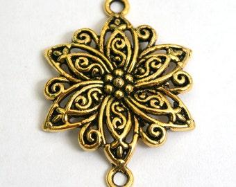 2 Lovely Antique Gold Flower Connectors/Pendants/Charms