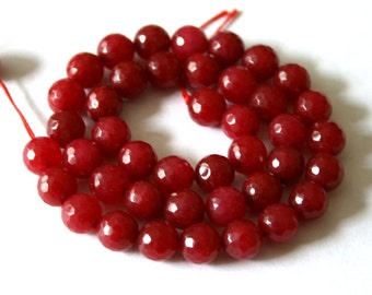 8 mm Ruby Red Faceted Gemstone Round Beads