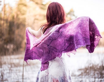 Purple magenta silk wrap with ombre  color