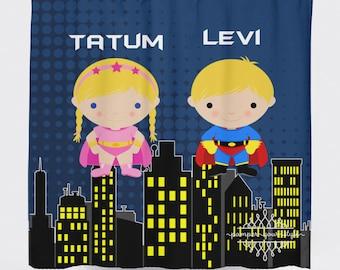 Super hero Shower Curtain - Superheroes Silbling Curtain - Superhero Shower Curtain Fabric Shower Curtain - Superhero Bathroom