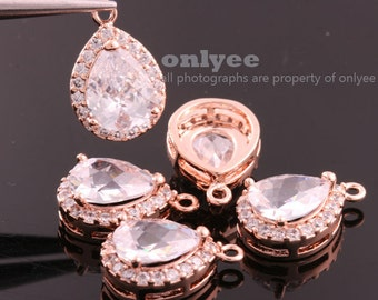2pcs-16mmX11mmBright Rose Gold plated (clear)LUX Cubic zirconia Tear Drop Pendants(M347R)