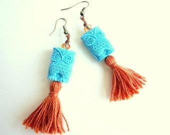 Tassel Earrings, Owl earrings, Burnt orange earrings, Boho earrings, Gypsy earring, Ethnic earring, hippie earrings, light blue earrings