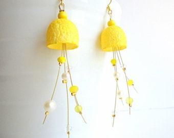 Sunny yellow earrings, silk earrings, cocoon earrings, eco friendly jewelry, OOAK earrings, lemon yellow earrings, modern earrings