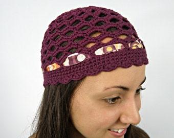 Gatsby - Retro Crochet Hat - Plum Lilac hat, women Crochet Hats, Beanies for women, Boho Hat, Skull cap by ZAPrix