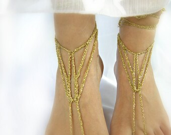 Wedding shoes - GOLD barefoot sandals/wedding foot jewelry/gold chain barefoot sandals/wedding bottomless shoes by ZAPrix