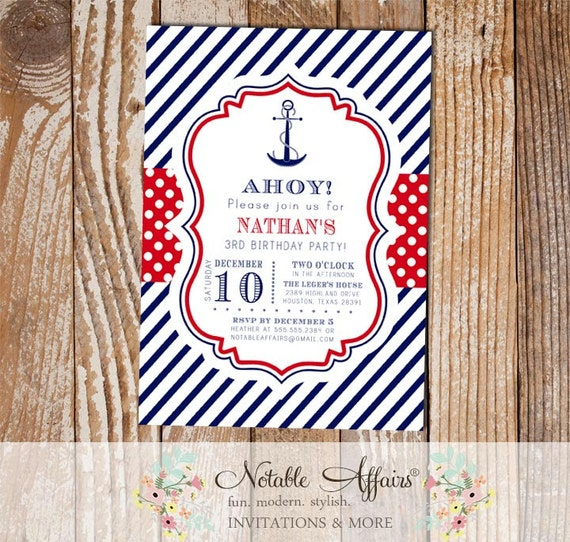 navy red white blue anchor stripes and polka dots nautical birthday