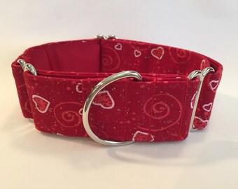 "1.5"" Red Hearts & Swirls Martingale Collar"