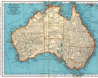 Australia Map, Vintage 1935, Rand McNally, Australian Continent, Wall Decor