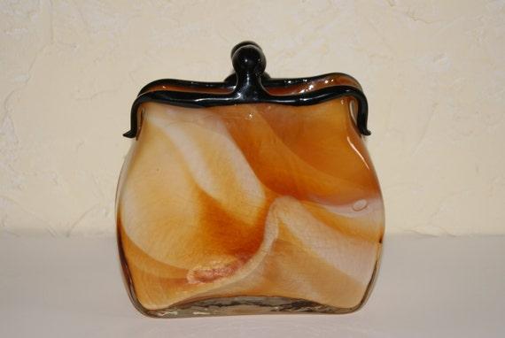 Vintage 1970s Murano Glass Purse Shaped Vase Cased Slag Glass Caramel Beige White Swirl Motif
