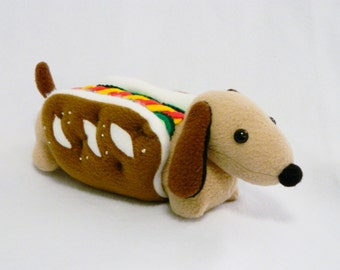 Stuffed pretzel hot dog pickles dachshund plush animal