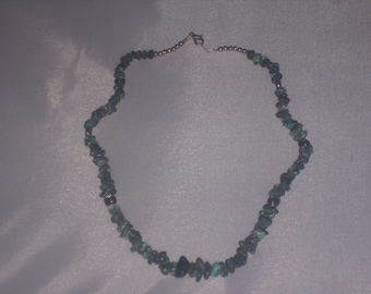 Vintage TURQUOISE nugget and SILVER accent NECKLACE