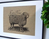 75% OFF SALE Burlap French Country Sheep Farm House Print