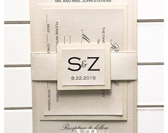 Wedding invitations, Champagne Wedding Invitation with rsvp and belt