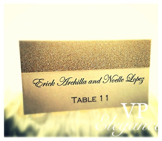 Seating cards place cards escort cards gold glitter by