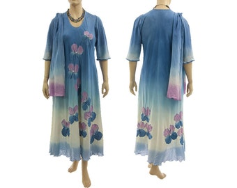 Artistic hand dyed maxi dress with scarf, cotton dress blue purple / art to wear for plus sized women, large/extra large L-XL, US size 14-18