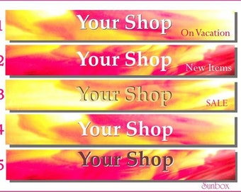 Premade Shop Banners. Your Shop Banner. Pink And Yellow