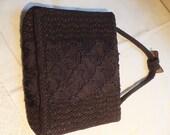 Mid 50's Vintage Walborg Handbag, Classic Black Couched Corded Soutache Single Handle Sweet Bow Handbag, Rich Satin Lined, Three Pockets