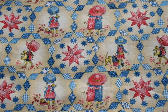 Items similar to vintage holly hobbie cotton fabric by the for Kids novelty fabric