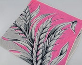 Large Vintage Hankie Pink and Gray WHEAT Stalks or Leaf Plant, Unique, Great  for  Framing, Sewing, Crafts, Collage    G47