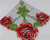 Vintage Hankie Handkerchief, Red Roses on Blue Unique, Great  for  Framing, Sewing, Crafts, Collage    G46