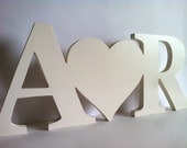 Wooden letters starting with personalized heart