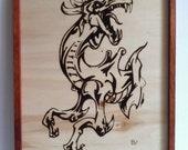Dragon fire wood pyrography