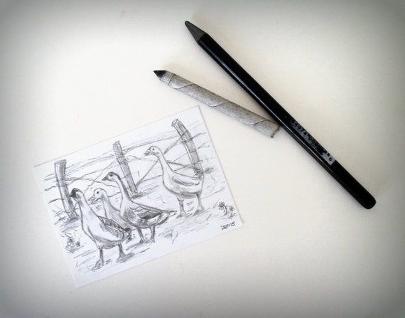 Gaggle of Geese Drawing Like This Item