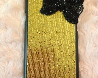 Iphone 6 gold glitter bow case
