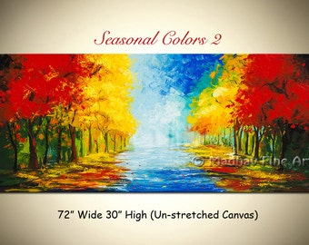 Landscape Original Abstract Art PAINTING on Large canvas by Madhav - Size: 72'' x 30'' (183cm x 76cm)
