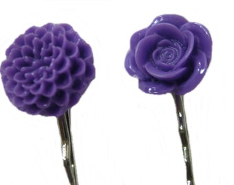 Purple Flower Hair Pins, Purple Hair Flower, Bobby Pin, Set of 2, Purple Hair Pins, Girls Hair Accessories, Hair Clips for Teens