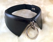 Stylish Hand Made Black Molded Leather Collar Collar