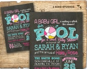 Pool party baby shower invitation - summer baby shower - coed baby shower invitation - bbq baby q - Pool party invitation - chalkboard girl