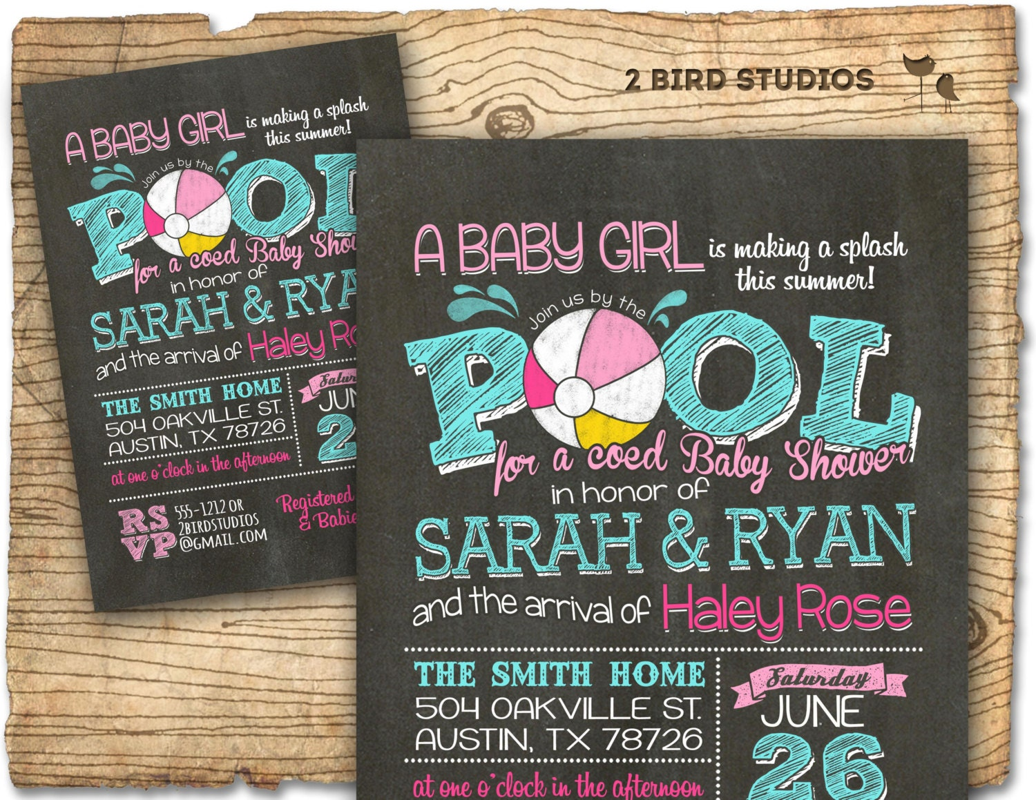 Pool party baby shower invitation summer baby shower coed