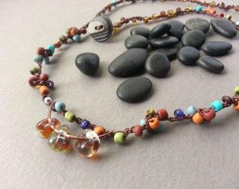 Boho Beaded Necklace, Beaded Crochet, Lampwork Glass Beads, Colorful Rustic Jewelry, Red Rust, Navy Blue, Fern Green, Pumpkin Orange, Tribal