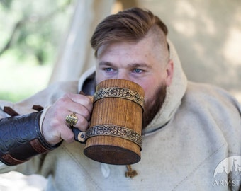 Viking Bracers; Leather Bracer Arm Guard (pair)