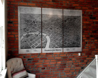 "Vintage Columbus Ohio METAL Map Triptych 54x36"" FREE SHIPPING"