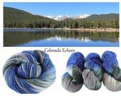 MADE TO ORDER - Phat Fiber - Colorado Echoes - Hand Dyed, Hand Painted Panda Sock Yarn (superwash merino, bamboo, nylon) 4oz/113g/430yrds