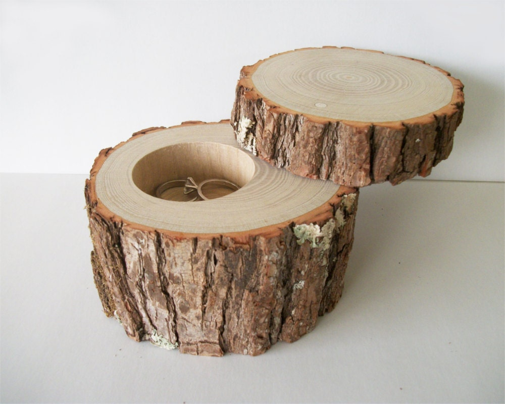 Handmade wood jewelry box with lid rustic ring bearer log for How to make a ring box out of wood