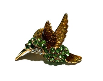 Rhinestone Bird Brooch, Hummingbird Rhinestone Brooch, Animal Brooch, Tie Tack