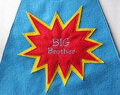 Superhero Cape with Big Brother / Sister in Starburst Design - Little Brother / Sister - Middle Brother / Sister Personalized Addon