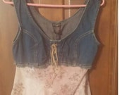 SALE!!!!! 90s vintage Boho Beach floral and jean tank  top