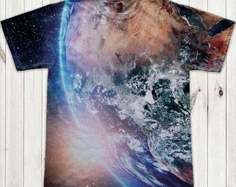 Earth from space print  Astronaut T-Shirt-(6-168)