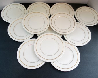 Syracuse Fine China - SY498 in Cream Shell Edge, Gold Band and Verge Line - Bread and Butter Plates - Set of 6 and 5