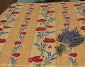 Rectangular tablecloth .oilcloth,cotton coated .Select the size you need.Fabric from Provence, France. poppies and Lavender in yellow