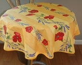 """Round tablecloth. French oilcloth.Bistro tablecloth. 40 or 50 or 60"""" diameter. Fabric from Provence, France. Lavender and poppies in yellow."""
