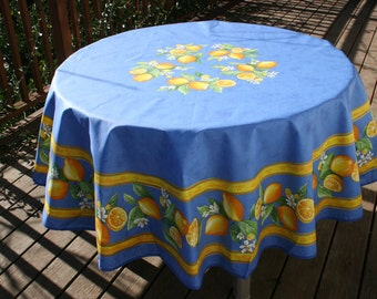 Round Cotton tablecloth.100% high quality French cotton. Fabric from Provence, France.Big lemons in blue .